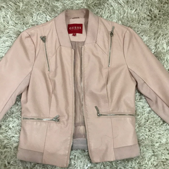 Guess Jackets & Blazers - Guess pink leather jacket
